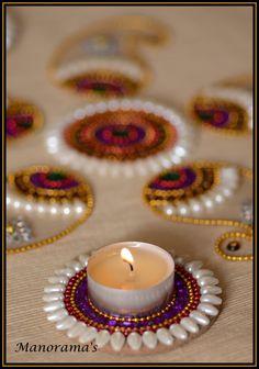 Floor Art  Kundan Rangoli Designs studded by ManoramasJewellery