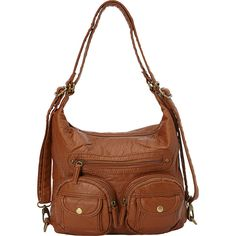 Ampere Creations Mini Convertible Backpack Crossbody Purse ($30) ❤ liked on Polyvore featuring bags, brown, handbag backpack, mini crossbody, crossbody backpack, convertible backpack shoulder bag and mini backpack purse
