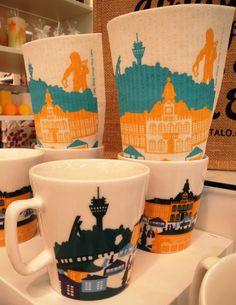 Kuopio tiskirätti (5€) Textiles, Mugs, Tableware, Kitchen, Crafts, Shopping, Dinnerware, Cooking, Manualidades