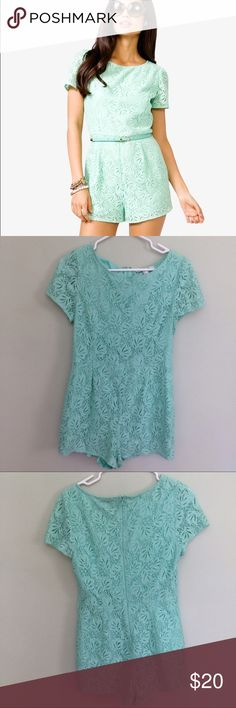Mint Lace Romper An adorable mint green romper from Forever 21 || worn once or twice || I don't have the belt that came with it but a a simple white belt would look super cute || it's listed as a large but it fits like a medium Pants Jumpsuits & Rompers