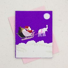 Ellie Pooh's elephant dung paper greeting cards are perfect for the holidays! Inside each card, you will find a blank insert of fine writing poo paper. Why send a store bought card when you can send a recycled, tree-free, eco-friendly poo card? Christmas Cards, Christmas Decorations, Merry And Bright, Dark Purple, Happy Holidays, Elephant, Stationery, Greeting Cards, Santa