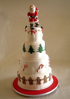 This cake would make a great focal point to any holiday table. Santa on top!