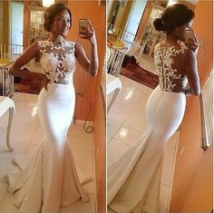 Cap Sleeves Lace Backless Mermaid Bridal Gown 2014 New Sexy Wedding Dresses M http://weddite.com/