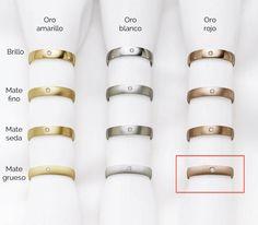 Diferentes tipos de termianciones en oro para las alianzas de boda de LK del modelo plana
