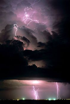 Purple skies & lightning