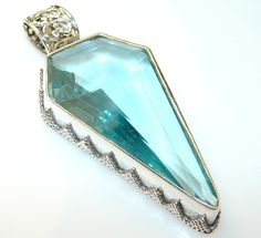 Fresh Aqua Color Quartz Sterling Silver Pendant