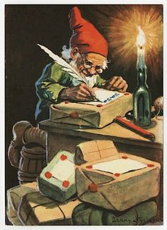 This is a postcard of an elf which I received from Sweden. The reverse of the postcard states 'God Jul Gott Nytt Ar' which translates as 'Merry Christmas and a Happy New Year'. Vintage Christmas Cards, Vintage Cards, Illustrations, Illustration Art, Christmas Gnome, Merry Christmas, Scandinavian Christmas, Leprechaun, Yule