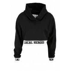 Local Heroes Cropped Hoodie ($69) ❤ liked on Polyvore featuring tops, hoodies, shirts, crop top, sweaters, cropped hoodie, hooded sweatshirt, cropped hoodies y sweatshirt hoodies