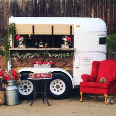 Red looks good on Charlie the vintage horse trailer bar! Food Trailer, Catering Trailer, Bar Catering, Wedding Catering, Wedding Venues, Wedding Ideas, Vintage Bar, Vintage Horse, Coffee Trailer