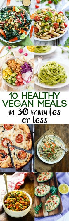 Crunched for time? You can still enjoy a healthy dinner! These 10 healthy vegan … Crunched for time? You can still enjoy a healthy dinner! These 10 healthy vegan meals in 30 minutes or less will save you on busy weeknights. Vegan Foods, Vegan Dishes, Vegan Vegetarian, Vegetarian Recipes, Healthy Recipes, Healthy Meals, Vegetarian Times, Dinner Healthy, Diet Meals