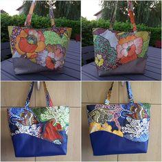 2 sacs Samba fleurs et poissons de Marie-Claude - patron Sacôtin