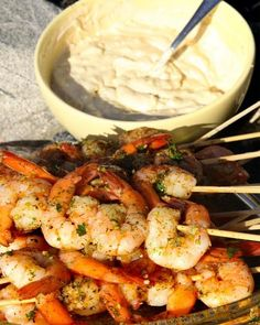 Kabob Recipes, Grilling Recipes, Seafood Recipes, Cooking Recipes, Aioli, Shrimp Dishes, Food For A Crowd, Fish And Seafood, Swedish Recipes