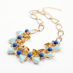 Charming Light Sky Blue And Royal Blue Artificial Gemstones Choker Necklace