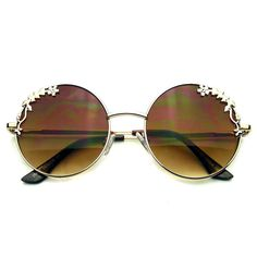 de808081856 Gold Womens Flower Floral Boho Round Mirror Sunglasses Emblem Eyewear