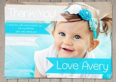 Girls Aqua Blue Thank You Card / Printable by InvitaitonsByLittleP
