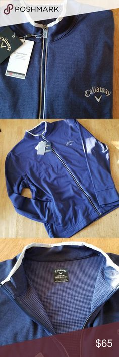 CALLAWAY GOLF WEATHER SERIES OPTI-THERM ZIP JACKET Thermal Insulated  Weather Series Zip Front Golf Jacket  By Callaway .   Blueprint Heather Is Color  4 Pockets :  2 Outer and 2 Large Inner Pockets Gloves not included, shown for pocket size.  This Item Is Brand  New With Tags, and Has Never Been Worn . Callaway Jackets & Coats