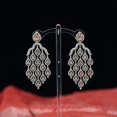 Diamond Earrings Indian, Diamond Dangle Earrings, Ruby Earrings, Rose Gold Earrings, Chandelier Earrings, Diamond Necklaces, Diamond Jewelry, Rose Gold Plates, Indian Jewelry