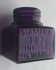 antique INK WELL embossed DIAMOND Ink - deep sun colored purple bottle dated 1903.