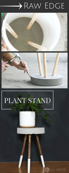 Modern Furniture Raw edge concrete plant stand - DIY - >> TUTORIAL (Diy Decoracion instructions, # i Easy Home Decor, Handmade Home Decor, Cheap Home Decor, Diy Decorations For Home, Handmade Ideas, Wedding Decorations, Diy Décoration, Easy Diy, Simple Diy