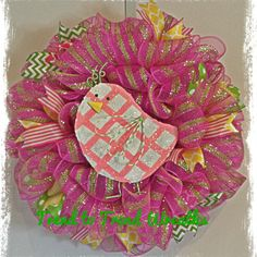 Pink Chicky Easter/Spring Wreath by TrendtoTrendWreaths on Etsy, $60.00