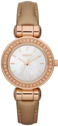 DKNY Ladies Mother of Pearl Dial Caramel Leather Strap Watch NY8563