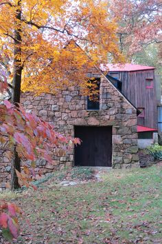 A fall day by the loading doors.  Photo by:  Laura Heemer - the Wharton Esherick Museum