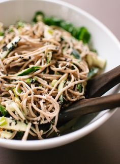 Sesame-Ginger and Cucumber Soba Noodles http://cookieandkate.com/2013/sesame-ginger-and-cucumber-soba-noodles/