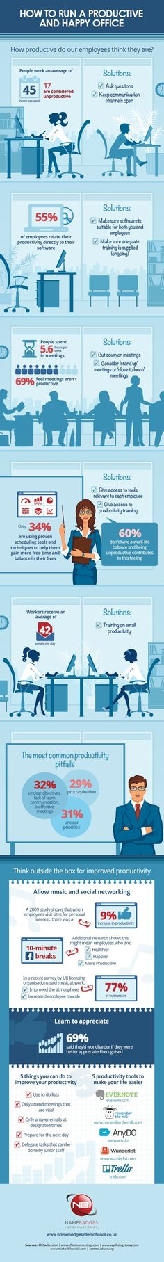 Run a Productive Office How to Run a Productive Office Filled with Happy Employees #Infographic
