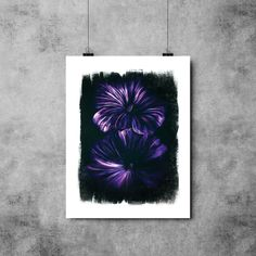 Purple Flowers Fine Art Poster Print, Illustration Coloured Pencil Grunge Texture Purple Blue Flowers Floral Artwork. I used a mixture of coloured pencils on black paper to recreate the vibrancy of these beautiful purple flowers. I then imported my artwork on to my computer and added depth and texture through digital software.