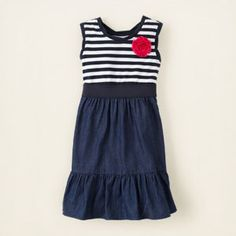 striped chambray dress via The Children's Place. I wouldn't make the bottom portion denim though.