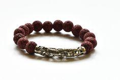 Męska bransoletka z bordowej lawy wulkanicznej w AnkArtJewelry na Etsy Bracelet Making, Silver Color, Lava, Burgundy, Bracelets, Leather, Gifts, Etsy, Jewelry