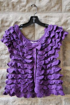 Purple Crochet Vest or Top with Buttons  haberdashery, fred'burg texas