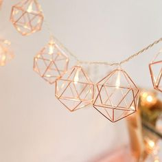 String Light | Battery Operated 1.5M 6W 10LED Vintage Warm White Rose Gold Hexagon Shape String Ligh