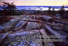 Corey Engfer Photography.  Autumn sunrise over Bar Harbor and Porcupine Islands from Cadillac Mountain. Acadia National Park, Maine