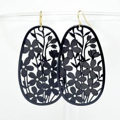 Oval flower garden laser cut earrings