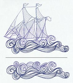 Stitch a ship and waves, then add repeating waves to make the ocean as wide as you can imagine. Dimensions listed are the largest area you'll embroider at once; stitch count listed is for both pieces together.