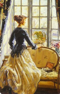 """Painting by Wilfred de Glehn. """"The Goldfish Bowl"""" Classic Paintings, Paintings I Love, Figure Painting, Painting & Drawing, Blue Painting, Art Et Illustration, Illustrations, Goldfish Bowl, Art Ancien"""