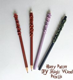 Harry Potter Costumes Celebrate JK Rowlings latest release: Harry Potter And The Cursed Child, releasing July 2016 w/ this DIY Magic Wand Pencil Craft from the Unofficial Guide To Crafting The World Harry Potter Magie, Cumpleaños Harry Potter, Harry Potter Cosplay, Harry Potter Birthday, Harry Harry, Harry Potter Enfants, Harry Potter Wands Diy, Pencil Crafts, Harry Potter Classroom