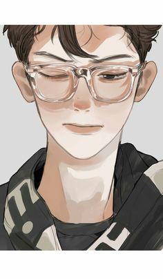 Chanyeol, Aesthetic Art, Aesthetic Anime, Manga Art, Anime Art, Exo Anime, Exo Fan Art, You Draw, Kpop Fanart