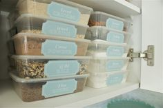 """Love this entire dollar store pantry organization, but especially the """"disposable"""" plastic containers used for items like bread crumbs, brown sugar, etc. So smart and so pretty!"""