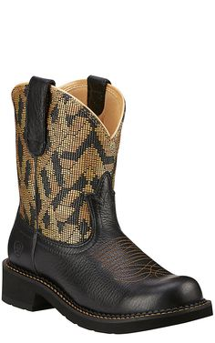 Ariat Fatbaby Heritage Vivid Women's Vintage Black with Gold Textile Top Western Boot | Cavender's