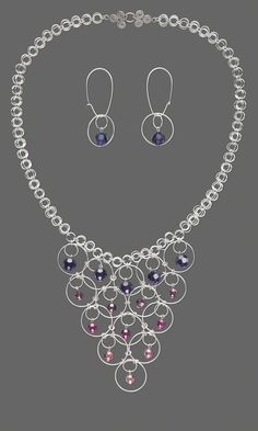 Jewelry Design - Single-Strand Necklace and Earring Set with Swarovski Crystal Beads and Sterling Silver Jumprings - Fire Mountain Gems and Beads