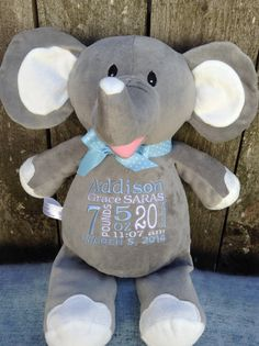 Monogrammed Baby Gift Personalized Baby Gift Elephant Birth Announcement by WorldClassEmbroidery, $39.99