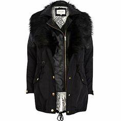 Black 3 in 1 faux fur parka jacket - River Island price: Faux Fur Parka, Fur Coat, River Island, Layered Fashion, Winter Looks, Leather Jacket, Fur Jacket, Winter Fashion, Women Wear
