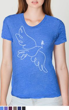 This t shirt has an image of a dove carrying an olive branch and is hand drawn on the front. It is in white ink.