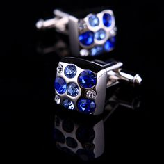 Blue Crystal Dotted Cufflinks