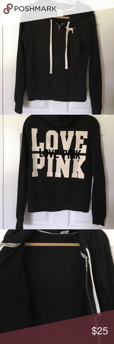 PINK Victoria's Secret zip hoodie No damage, black and white sweatshirt with hood and zipper. Size Medium. Hood is nice and large. Comes from smoke and pet-free home. PINK Victoria's Secret Tops Sweatshirts & Hoodies