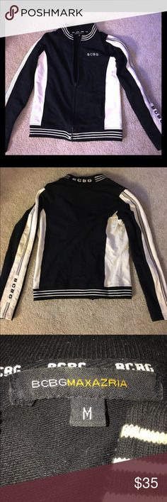 BCBG maxazria women's black&white zip up jacket Black and white women's BCBG Maxazria zip up jacket. Striping on collar and waist and thick piped striped down arms with logo on sleeve, back collar and chest BCBGMaxAzria Jackets & Coats