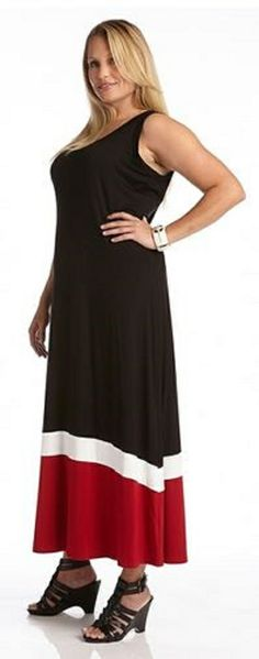 PLUS SIZE BLACK RED WHITE  CONTRAST MAXI TANK DRESS This Karen Kane Contrast Maxi Tank Dress will keep you on trend with cool color blocking. A body of black falls into a band of white and finishes with a red hem. This maxi goes to great lengths to fit and flatter with its soft scoop neck and stretchy jersey fabric. #Plus_Size #Maxi_Dress #Fashion #Karen_Kane