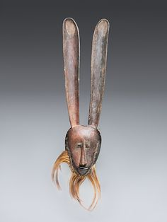 Mask (hare), Mwera Wood, pigment, fur (monkey?), 71cm Collection of the Ethnologisches Museum